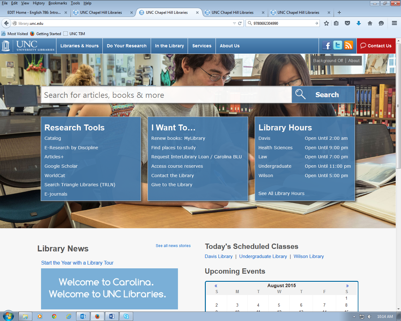 UNC University Libraries homepage