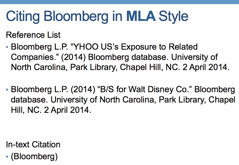 Citing the Bloomberg in MLA