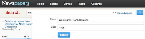 Advanced Search in newspapers.com