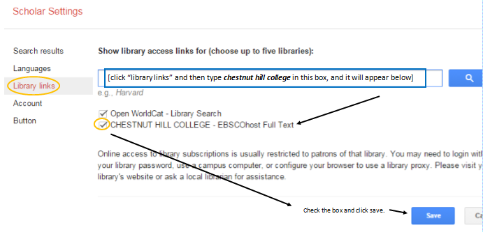 Google Scholar Instructions