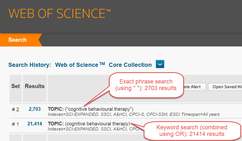Image of Web of Science phrase searching