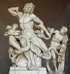 Marble statue of a nude bearded man and his two nude sons being attacked by snakes.