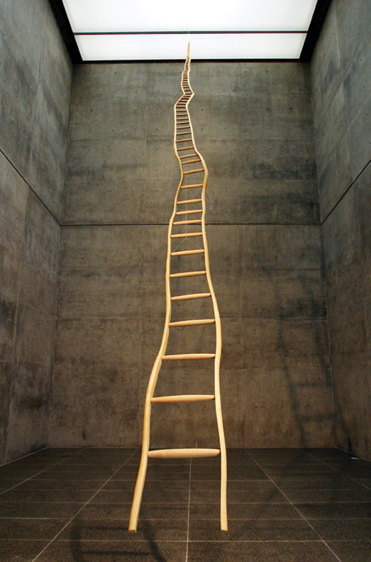 Image of a wavy ladder appearing to ascend into the sky forever.