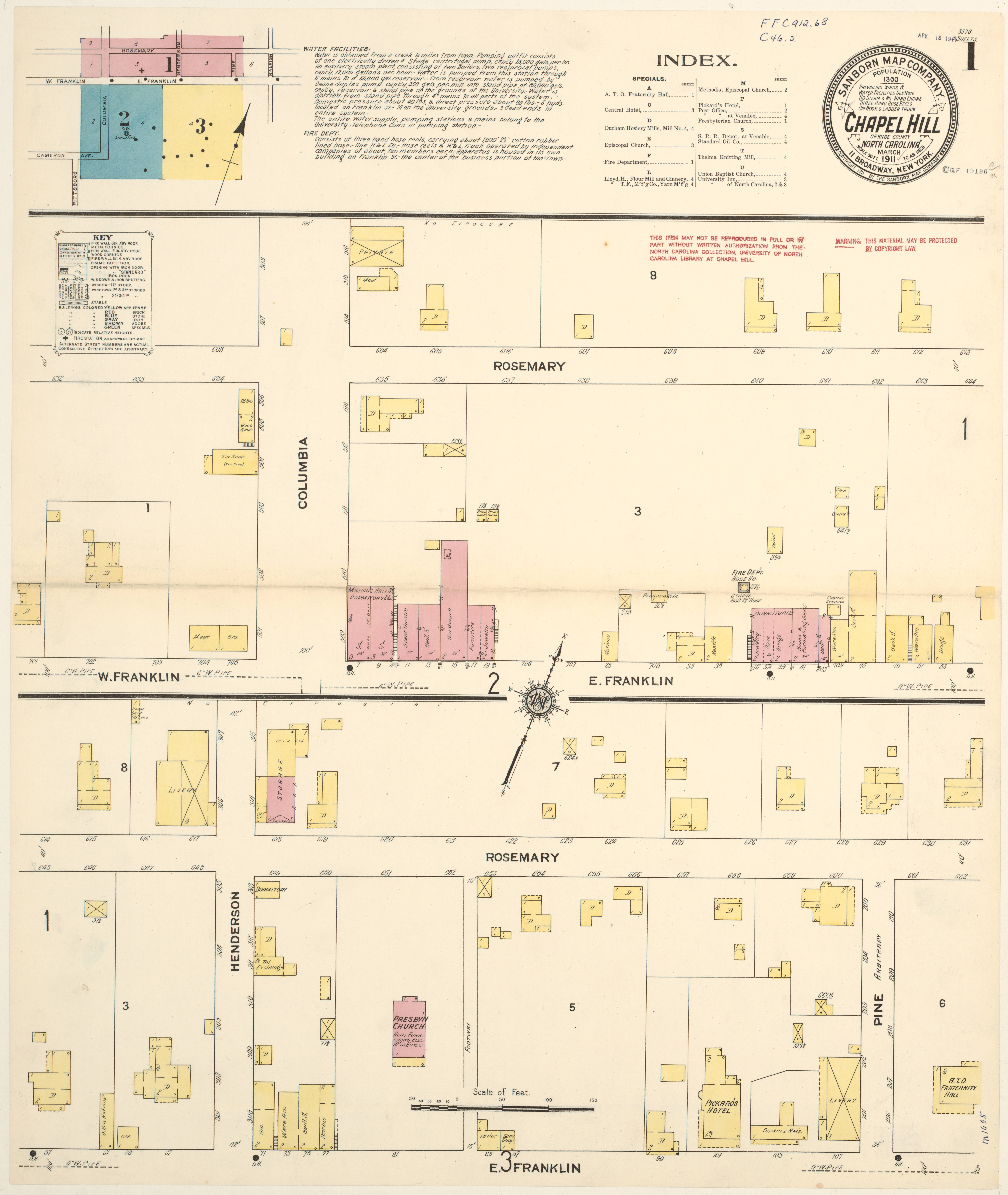 Sanborn Map of Chapel Hill, 1911