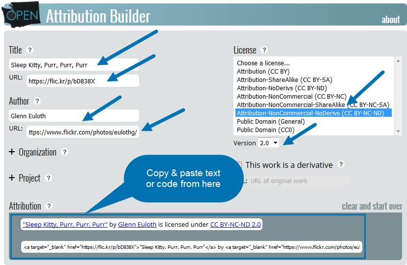 Open Attribution Builder. Enter image info, then copy and paste text or code.