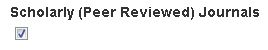 Scholarly (Peer Reviewed Journals) check box