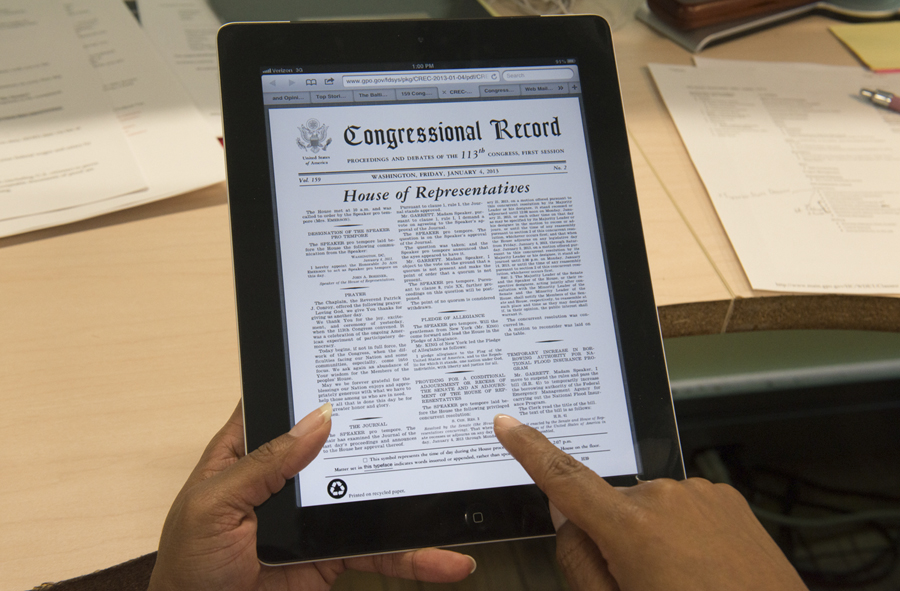 iPad displaying government document