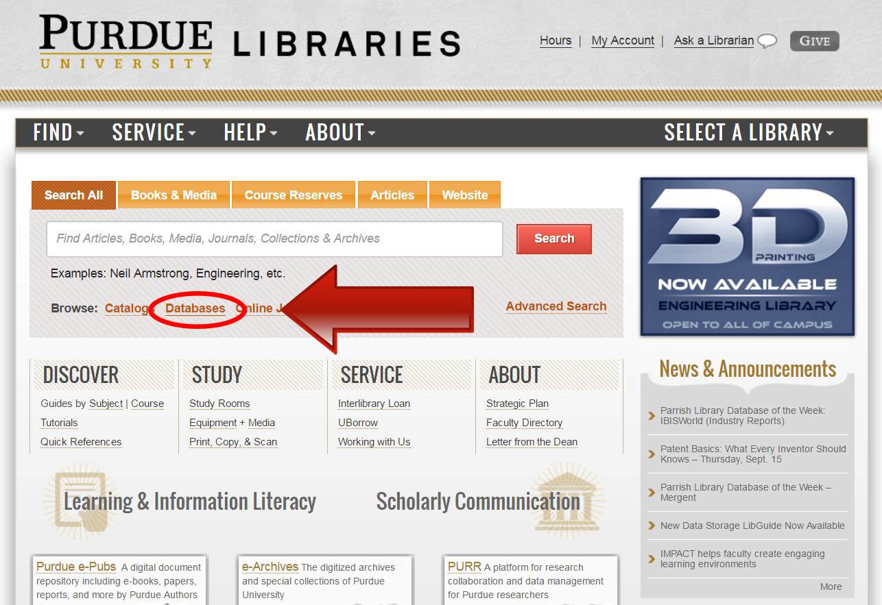 Purdue Libraries' Homepage, click on Databases.