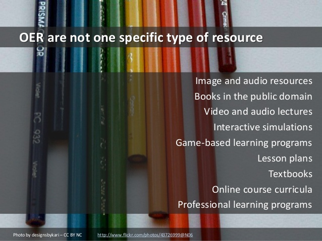 Other OER resources may include interactive simulations, game-based learning programs, lesson plans, online course curricula, and more