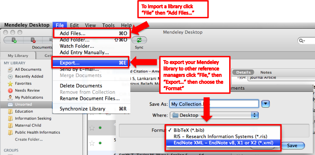 a screenshot of mendeley the bibliogrpahic manager, with its export options highlighted