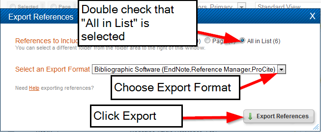 screenshot of refworks export options for format and list of citations to export