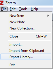 a screenshot of zotero's file menu with export library highlighted