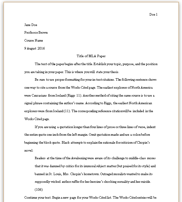 mla 8th edition paper formatting - Example Of A Mla Essay