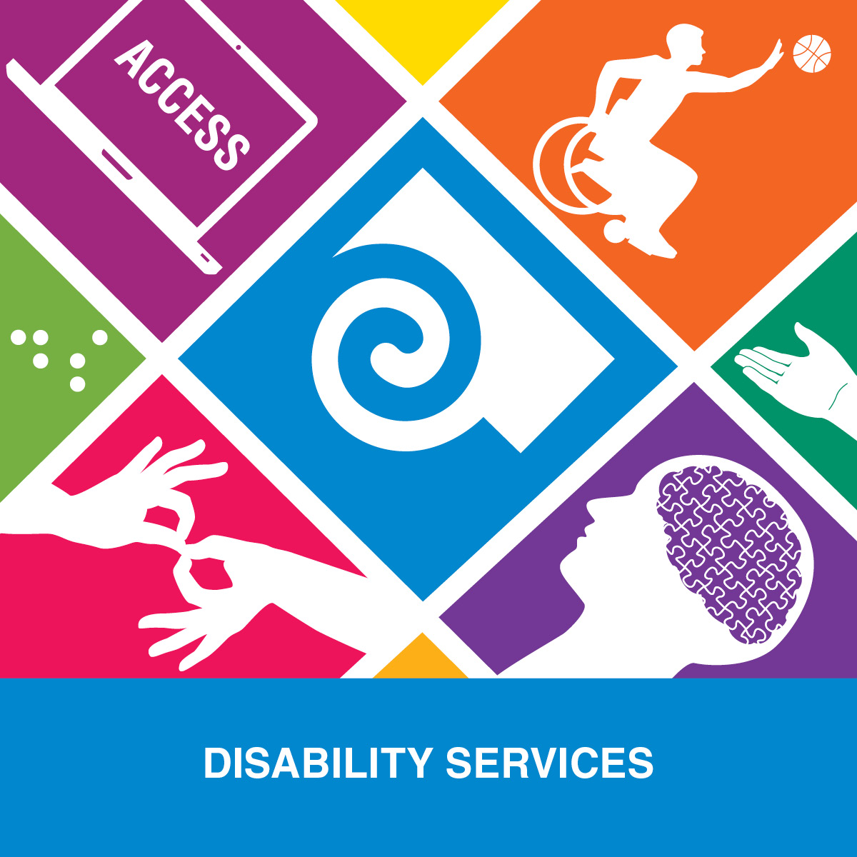 50th anniversary logo for Disability Services with colorful imagery