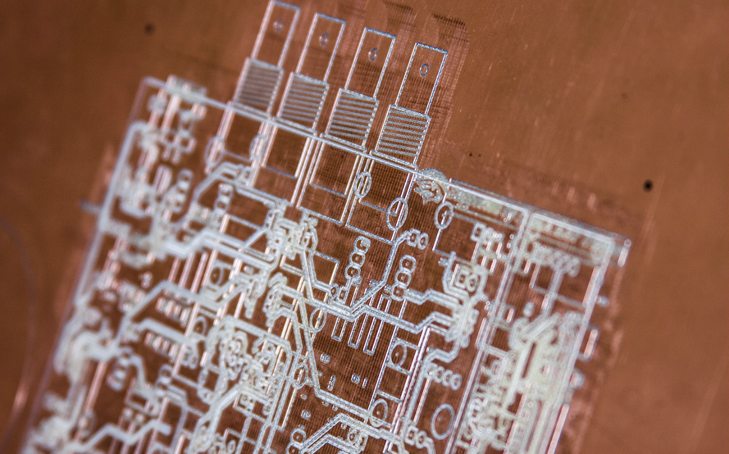 Example of circuit board made at DeLaMare Library.