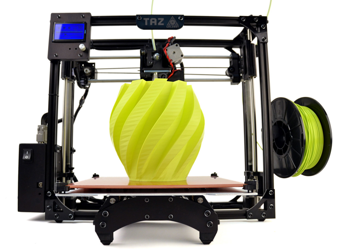 Image of Lulzbot printing a lime green vase.