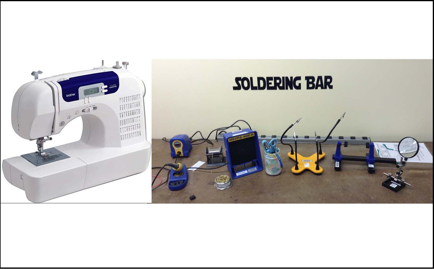 DeLaMare Library's sewing machine and soldering bar.