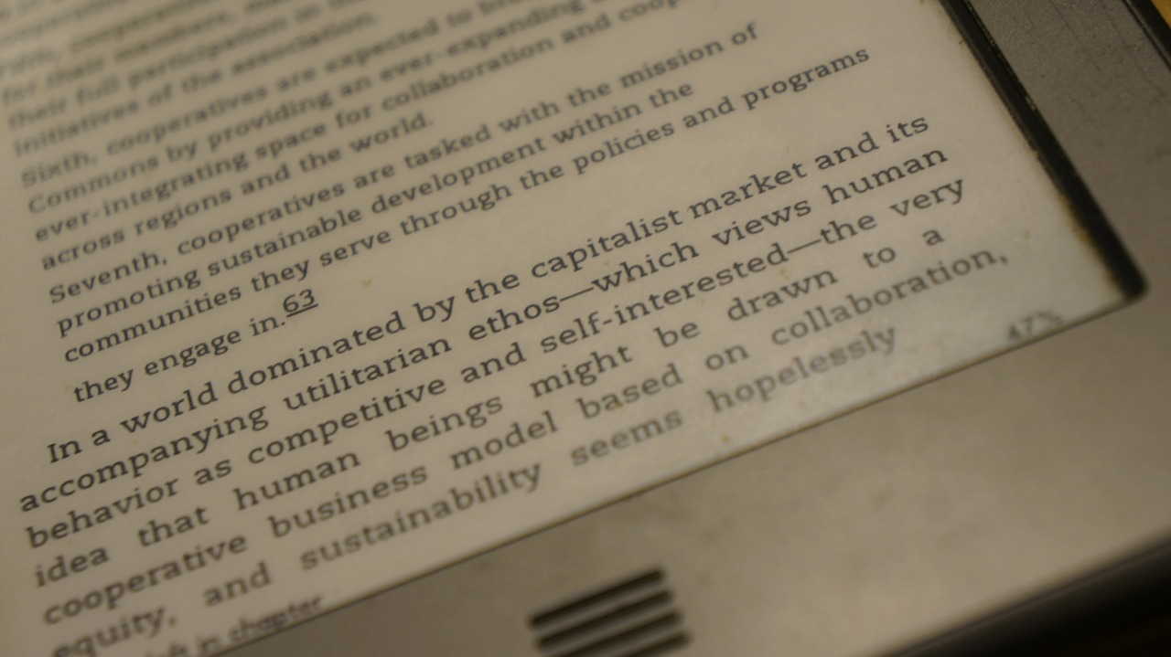 Image of text on an e-reader