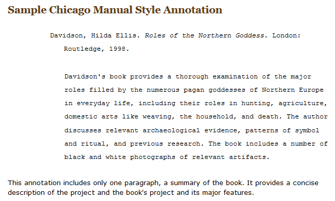 chicago format annotated bibliography
