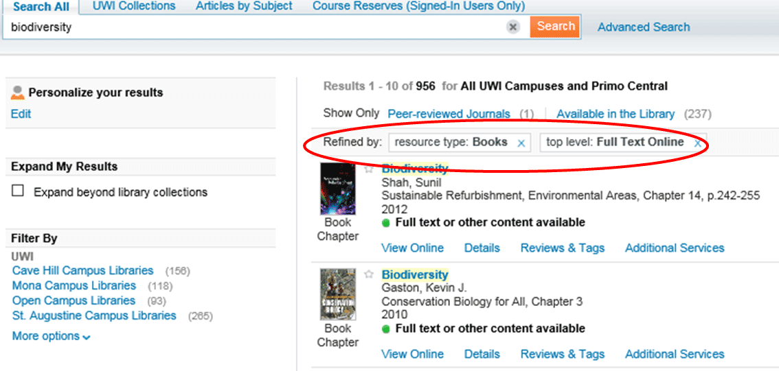 UWIlinc search results with full text online and books filters applied