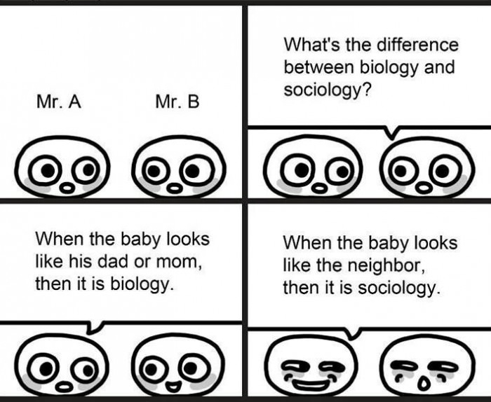 Comic: Difference between Biology & Sociology