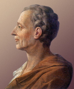 Portrait of Montesquieu in profile, facing left.