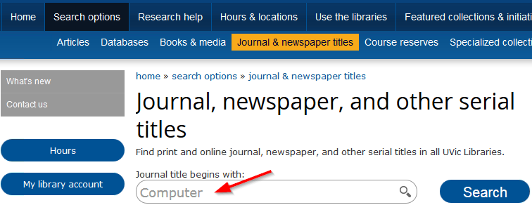 screenshot showing where to find journal and newspaper title search
