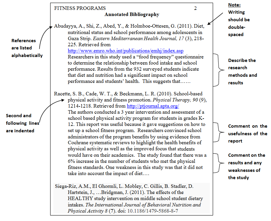 Examples of an annotated bibliography apa 6th edition