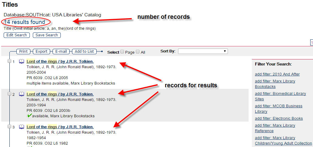 screenshot of results of title search highlighting number of records and records