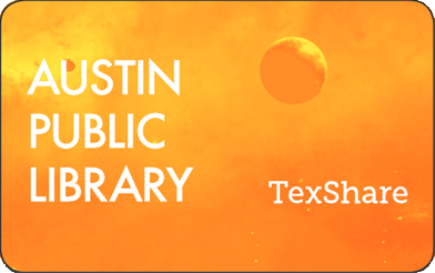 Image of an orange Austin Public Library TexShare card.