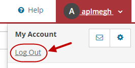 Log Out appears on the drop-down menu beneath My Account