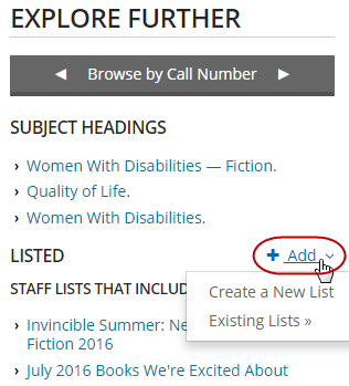 "Screenshot showing the Add link with options, ""Create a New List"" and ""Existing Lists."""