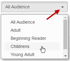 Screenshot showing that under All Audience, the options are: Adult, Beginning Reader, Childrens, Young Adult.