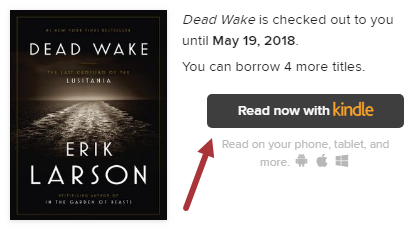 Screenshot of Dead Wake book jacket, with Kindle Book selected under Choose a Format.