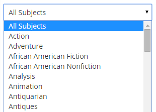 All Subject dropdown showing several genre selections.