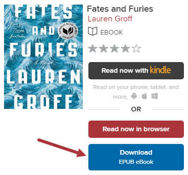 "The ""Fates and Furies"" is shown. The Download menu is activated and the EPUB option is selected."