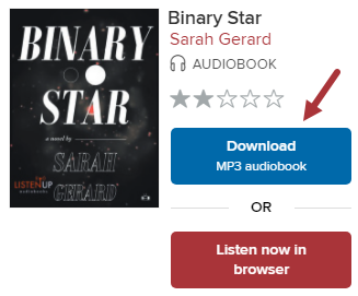 """Screenshot of an audioboook, """"Binary Star,"""" with Download MP3 Audiobook button."""