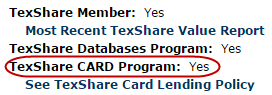 """TexShare CARD Program: Yes"" is circled on a screenshot."