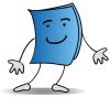 TumbleBook logo of a book person