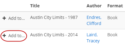 """Austin City Limits: A History"" was found. A circle is drawn around the Add icon."