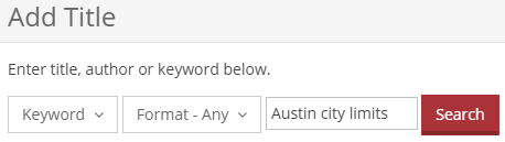 """Austin city limits"" has been entered into the search box."