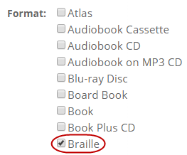 Format options are shown with the box checked next to Braille.