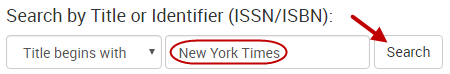 """New York Times"" is entered in the search box next to ""Title begins with."""