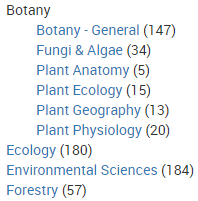 Botany is show with additional subcategories: Fungi & Algae (34), Plant Anatomy (5), etc.