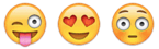 Three emoticons: Sticking out tongue, lovey-heart eyes, and blushing.