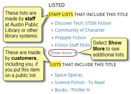 Listed has two sections: Staff Lists and Lists. Staff Lists are made by staff at Austin Public Library or other library systems. Lists are made by customers, including you, if you put an item on a public list. The Show more linked in each section shows additional lists when selected.
