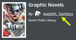 An arrow points out AustinPL_TeenSvcs as a link on the list, Graphic Novels.