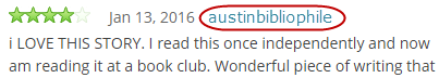 A sample review, with the user's name, austinbibliophile, circled.