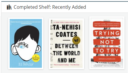Screenshot showing three books from a Completed Shelf.