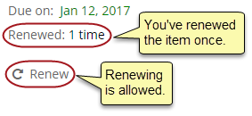 Renewed: 1 time. Renewing is allowed.